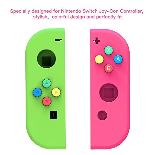 Price comparison product image New Face Plate FULL Housing Shell for Nintendo Switch NS Controllers Joy-Cons (Green&Pink) …