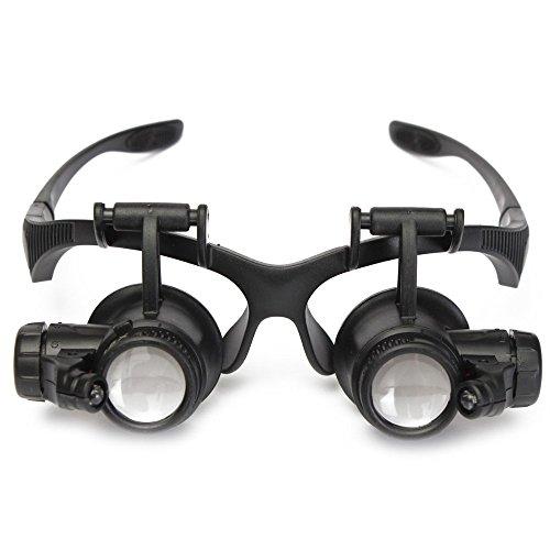 owikar Objektiv Lupe Stirnband Brille Watch Reparatur Lupe Lupe Mikroskop mit LED-Licht für detectting Biologie Schmuck Bewertung (10x 15x 20x 25x) (Zelle Stehen)