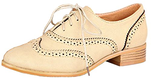 VECJUNIA Damen Faux Leder Schnürsenkel Flache Low Heel Oxford Office Brogue Schuhe Weiß 38 (Faux-leder-flacher Schuh)