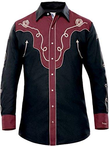 Modestone Men's Embroidered Fitted Western Hemd Filigree Black 3XL - Panhandle Slim Rock