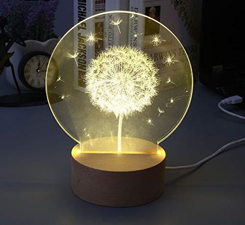 Nette 3D Nachtlicht LED Löwenzahn Stil Glow Warmweiß Modellierung Lampe Neue Jahr Party Dekoration Dekor Ornament Drop Shipping