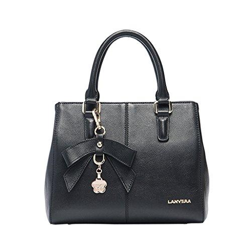Mena UK Borsa della borsa della spalla del sacchetto di Tote della decorazione della farfalla di cuoio classica dell'annata delle signore ( Colore : Grey Blue , dimensioni : 25.5cm*21.5cm*14cm ) Nero