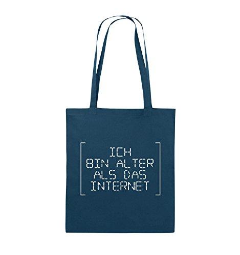 Comedy Bags - ICH BIN ÄLTER ALS DAS INTERNET - RETRO - Jutebeutel - lange Henkel - 38x42cm - Farbe: Schwarz / Silber Navy / Weiss