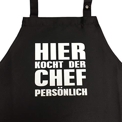 Hier kocht der Chef persönlich - Kochschürze, lustige Grillschürze mit verstellbarem Nackenband und Seitentasche (Schwarz)