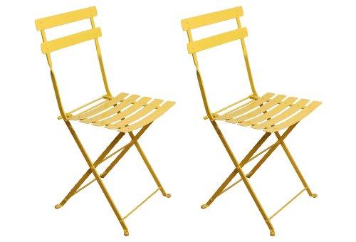 European Cafe (Furniture Designhouse Klappstuhl, französischer Bistro European Cafe, mit Stahlblechen gelb)