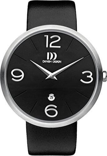 Danish Design Men's Quartz Watch with Black Dial Analogue Display and Black Leather Strap DZ120321