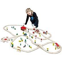 Eyepower 12476 - Stazione ferroviaria in legno, lunghezza binari: oltre 8 metri, dimensioni: 210 x 130 cm, con vari accessori, compatibile con prodotti Brio, Eichhorn, Thomas e Ikea