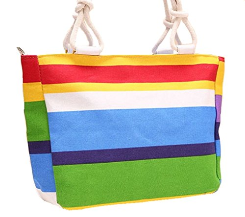 GetThatBag© Damen Large Leinwand Helle Strandtasche Shopper Handtasche - Canvas (blue green yellow) (Beach Bag Green)