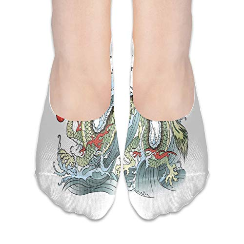 KKAIYA Women & Men Casual Low Cut Boat Sock invisible socks,Far Eastern Water Dragon Splashing Waves Legend Creature,Cotton Casual Athletic Socks,Pale Green Vermilion Sage Sage Green Lace