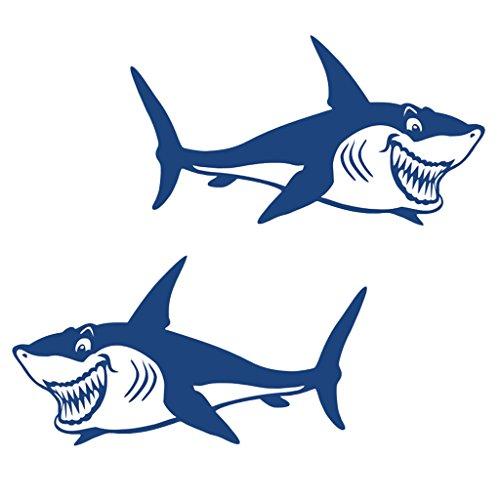 Sharplace Haifisch Aufkleber Sticker Fischerboot Autoaufkleber Bootsaufkleber Badezimmer Wand Surfboard Deko Sticker (2 Stück Packung)