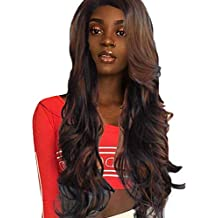 LUNULE Peluca sintetica larga Peluca delantera ondulada suelta Pelucas de pelo  completo rizado natural mujeres negro e04f456ff06a