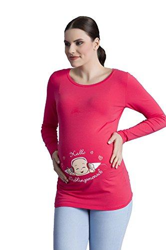 Hallo Lieblingsmensch - Witzige süße Umstandsmode T-Shirt mit Motiv Schwangerschaft, Langarm Koralle
