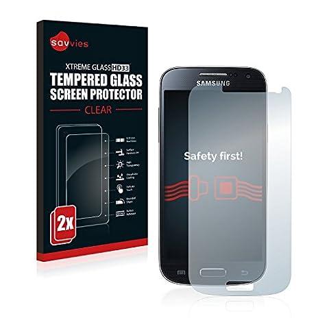 2x Savvies Glasfolie Samsung Galaxy S4 mini / S4 mini LTE (4G) Panzerglas Schutzfolie Panzerfolie - Klar, 9H Hartglas