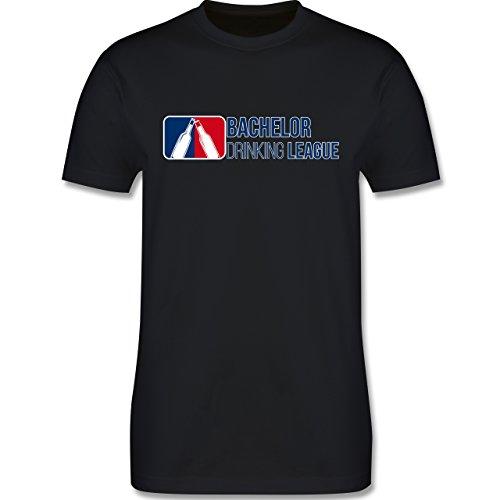 Shirtracer JGA Junggesellenabschied - Bachelor Drinking League - Herren T-Shirt Rundhals Schwarz
