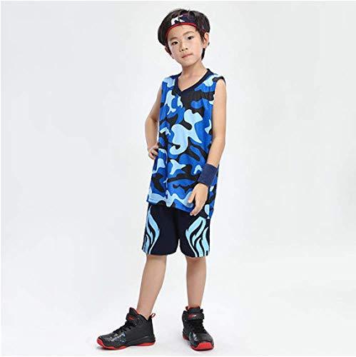 Xiaol maglie da allenamento per pallacanestro ritorno al passato per bambini set camouflage ragazzi squadra sportiva abbigliamento da basket tuta divise per bambini personalizzate,bluea-s