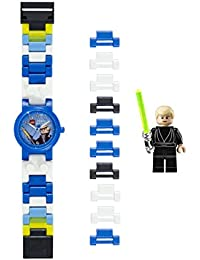 LEGO Star Wars 8020356 Luke Skywalker Kids Buildable Watch with Link Bracelet and Minifigure | blue/white | plastic | 25mm case diameter| analogue quartz | boy girl | official
