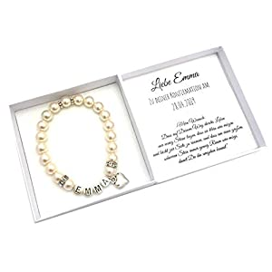Konfirmation Geschenk Mädchen Namensarmband, Box mit Personalisierung, Konfirmationsgeschenk