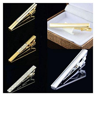 5 PCS Mens Gold & tono argento morsetto semplice clip cravatta Tie Chiusura