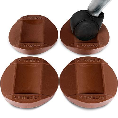 X-PROTECTOR Möbeltassen 4 Stück - Premium Gummiuntersetzer - beste Bettstopper - Bodenschutz für alle Böden und Räder (Rollen Filz-schreibtisch-stuhl Auf)