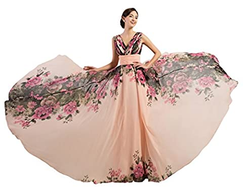 Elegant Backless Flower Pattern Floral Long Evening Dress Formal Chiffon Dress Gown Pink Size 6