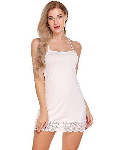 Wddgpzsy camicia da notte/sleepwear/nightwear/pigiama/pigiameria/camicia da notte in cotone camicia da notte da notte camicia da notte camicia da notte femminile in pizzo senza maniche, bianca, xl