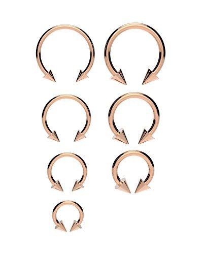 18K ROSEGOLD Hufeisen-Bar - Lippe Nasenscheidewand Ohrring verschiedene Größen erhältlich Mit Kugeln oder Kegel - 1.2mm(16g) x 10mm MIT KEGELN