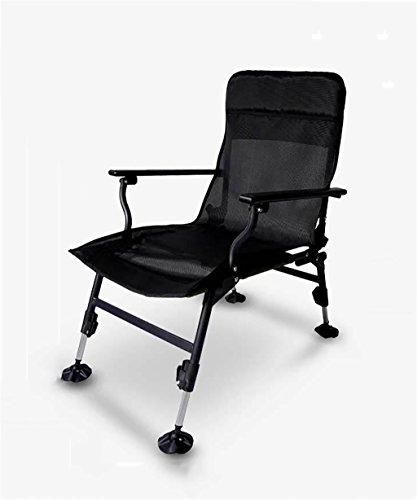 Fischen Stuhl Foldable Outdoor Liege Gartenstuhl Liegestuhl-Ф22 * 1mm Stahlrohr, Rahmenmaterial ( Farbe : Schwarz )