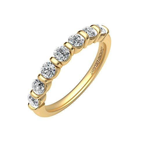 Diamante Delight Donna 10K 7Pietra Canale Set Anello Nuziale (i3, 3/4CT), Oro giallo, 13,5, cod. RG34545-I3-10KY-7