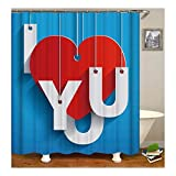 Bishilin Polyester-Stoff Duschvorhang Waschbar I Love You Herz 3D Anti Schimmel Duschvorhang 180X180