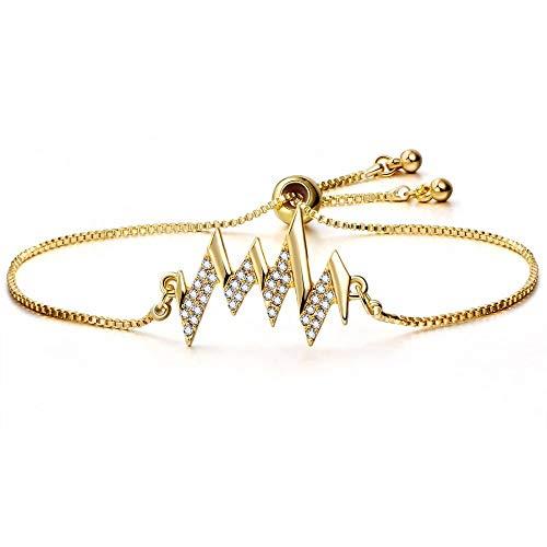 IJEWALRY Damenarmband Armbänder Armband,Elegante Feine Goldfarben-Webart-Kristallarmband-Armbänder Für Die Frauen, Die Brautgeschenke Wedding Sind Justierbares Armband