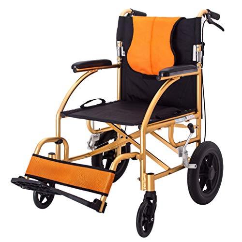 LWUDI Silla De Ruedas Plegable Ligera, Silla de Viaje para Ancianos con discapacidad de 20 Pulgadas, Asiento Ancho de 17 Pulgadas,Gold
