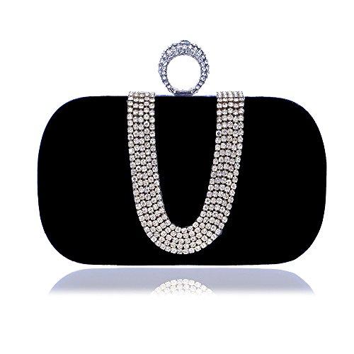 Frauen Abend Kupplung Tasche, Luxus Crystal Reshione Samt Handtasche Brieftasche Handtasche für Party Hochzeit Cocktail Abschlussball Umhängetasche (Samt-abend-handtasche)