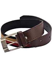 CrayonFlakes Children's Belt Multicolor Stretchable Canvas & Brown PU Leather