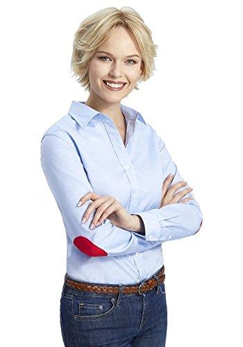 ALLBOW Neat Blaue Bluse mit Ellenbogen-Patches, Elegante Damen-Bluse mit Flicken Braun