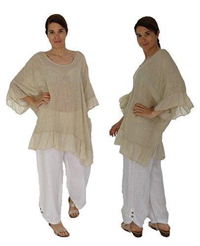 Mein Design Lagenlook de Mallorca Damen Tunika HN400 Bluse Leinen one size  Plus Size Vintageoptik Gr ...