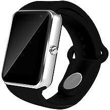 Todo-en-1 reloj elegante, ROSON® más reciente Bluetooth Watch reloj teléfono con ranura para tarjeta SIM y NFC para el iPhone de Apple IOS, Android Samsung HTC Sony LG Smartphones (SILVER)