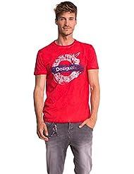 T-SHIRT ROUGE LUIS COL ROND - DESIGUAL - Rouge - Homme