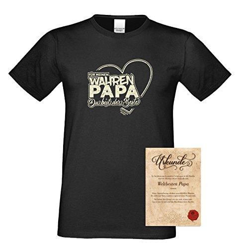 Herren T-Shirt als Vatertagsgeschenk Geburtstagsgeschenk :-: Für meinen wahren Papa :-: Geschenkidee für Ihren Adoptivvater Stiefvater Geburtstag Vatertag Weihnachten:-: Farbe: schwarz Schwarz