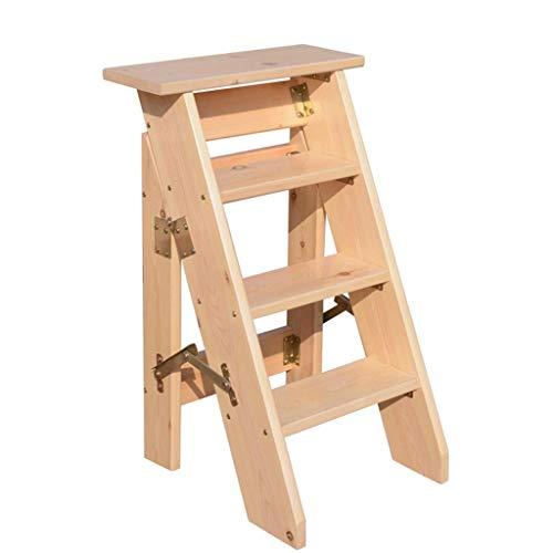 Taburete con peldaño Escalera de madera Taburete Multifunción ...
