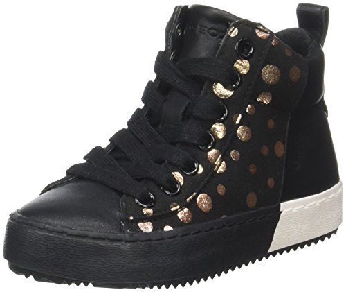 Geox Mädchen J Kalispera Girl B Hohe Sneaker, Schwarz (Black/Gold), 37 EU (Turnschuhe Kinder Girls)
