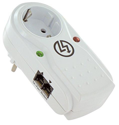 Steckdosenadapter mit Überspannungsschutz als Blitzschutz für Elektrogeräte wie TV, Internet, Telefon, Netzwerk etc.