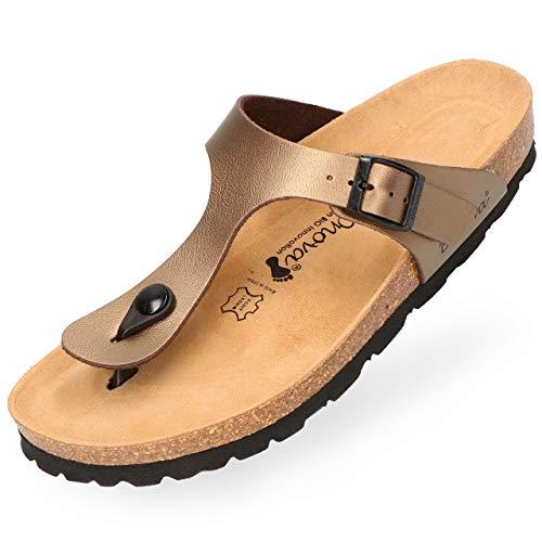 BOnova Damen Zehen-Trenner Ibiza in 14 Farben, stylische Pantolette mit Kork-Fußbett - Sandalen zum Wohlfühlen - hergestellt in der EU Bronze metallic 43 43