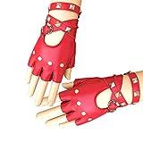 Ferrell 1 paio di guanti da moto a mezze dita in pelle PU, stile Rock Punk con borchie rosso