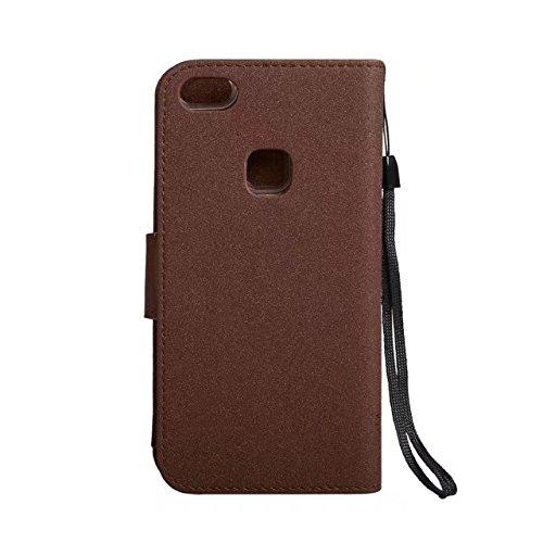 Abnehmbare 2 in 1 PU + TPU Ledertasche geprägte Blumen Stil glänzende Sparkles Brieftasche Stand Case Cover mit Kreditkarte Slots & Lanyard & Magnetic Closure für Huawei P10 LITE ( Color : Red ) Brown