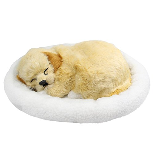 Tplay Breathing Dog Golden Retriever Puppy Plush Toy with Bed, 10""