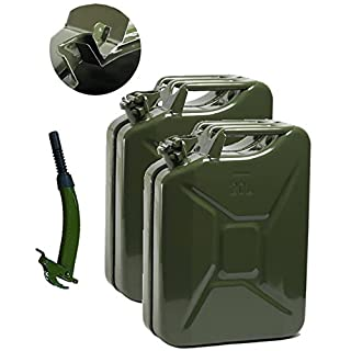 Opticare 2 x 20 Litre Green Metal Jerry Can With 1 x Spout (UN Approved, GS/TUV Certification)