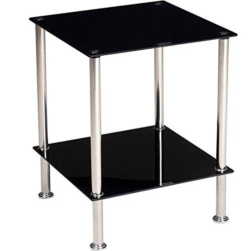 Bakaji tavolino caffè angoliera 2 ripiani in vetro temperato struttura acciaio mobiletto angolare soggiorno salotto arredamento casa 40x50cm colore nero