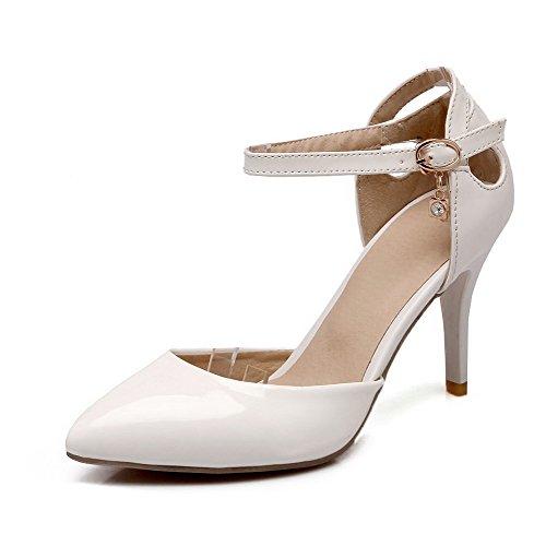 AllhqFashion Damen Blend Spitz Zehe Stiletto Schnalle Rein Pumps Schuhe Weiß