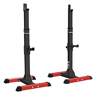 ISE Adjustable Heavy Duty Squat Rack Dip Weights Barbell Squat Stand Power Weight Bench by ISE