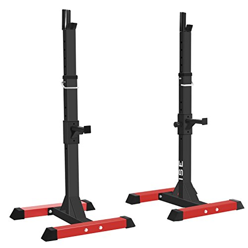 ISE Estante de Barra con Pesas Ajustable para Barbell, Squat Rack Stand Gym para Fitness,...